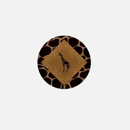 Giraffe with Animal Print Mini Button