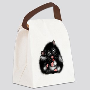 Funny black white Syrian Hamster washing Canvas Lu
