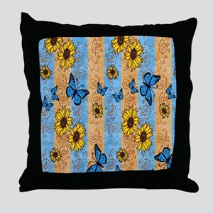 Country Sunflower And Butterflies Throw Pillow