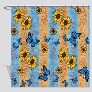 Country Sunflower And Butterflies Shower Curtain