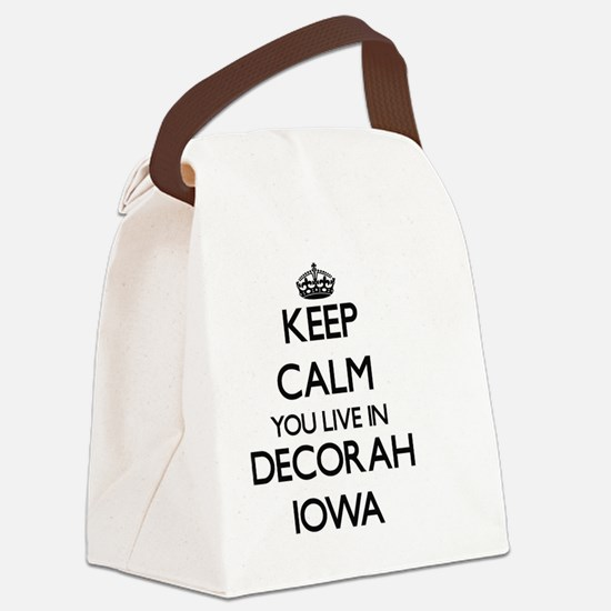 Keep calm you live in Decorah Iow Canvas Lunch Bag