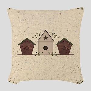 Primitive Birdhouses Woven Throw Pillow