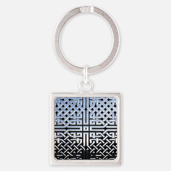 Chrome Celtic Knot Square Keychain
