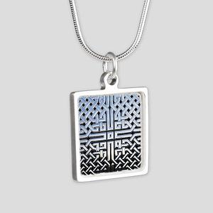 Chrome Celtic Knot Silver Square Necklace
