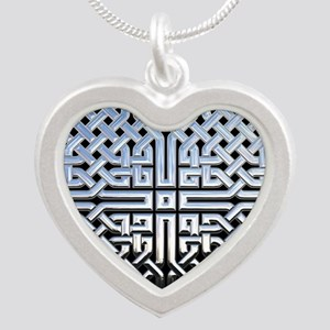 Chrome Celtic Knot Silver Heart Necklace
