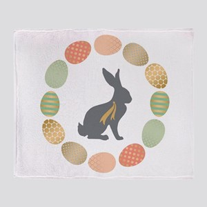 Modern Vintage graphic Easter Bunny and wreath of
