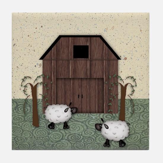 Barn Sheep Tile Coaster