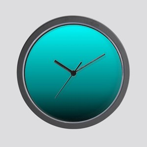 modern black turquoise ombre Wall Clock