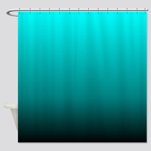 modern black turquoise ombre Shower Curtain