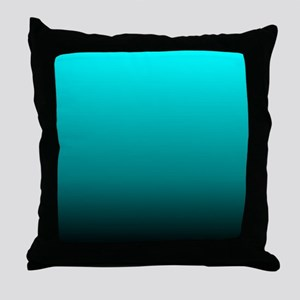 modern black turquoise ombre Throw Pillow