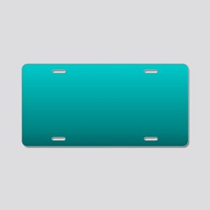 modern black turquoise ombr Aluminum License Plate