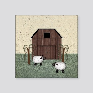 "Barn Sheep Square Sticker 3"" x 3"""