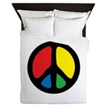 Groovy Peace Symbol Queen Duvet Cover
