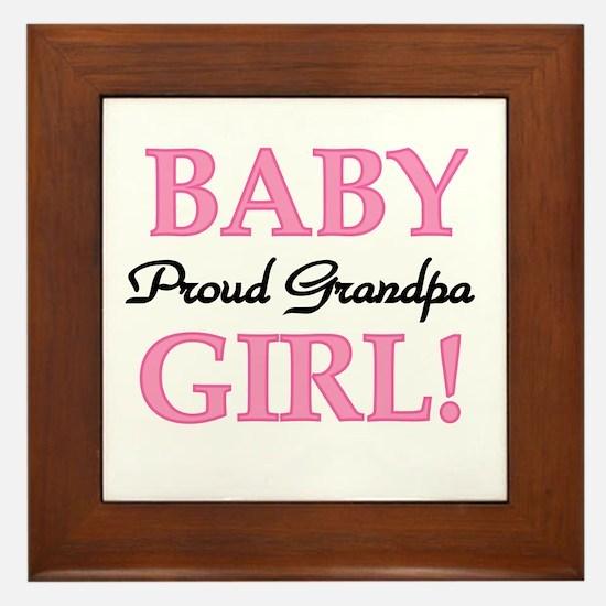 Baby Girl Proud Grandpa Framed Tile