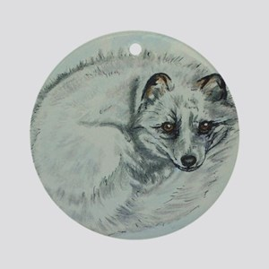 Arctic Fox Round Ornament