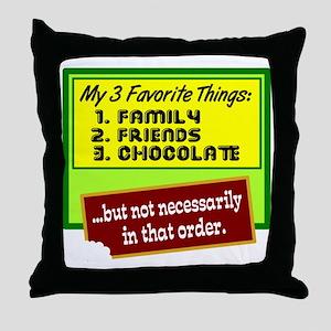 Favorite Things/Chocolate Throw Pillow