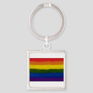 GAY PRIDE RAINBOW FLAG PAINT ART SIGNED Keychains