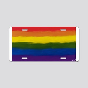 GAY PRIDE RAINBOW FLAG PAIN Aluminum License Plate