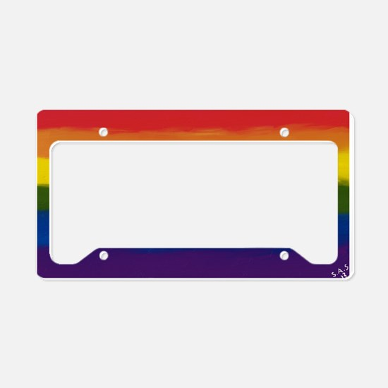 GAY PRIDE RAINBOW FLAG PAINT License Plate Holder