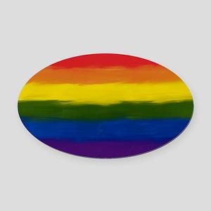 GAY PRIDE RAINBOW FLAG PAINT ART S Oval Car Magnet