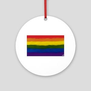 GAY PRIDE RAINBOW FLAG PAINT ART Ornament (Round)