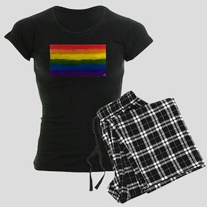 GAY PRIDE RAINBOW FLAG PAINT Women's Dark Pajamas