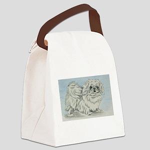 White Pekingese Canvas Lunch Bag