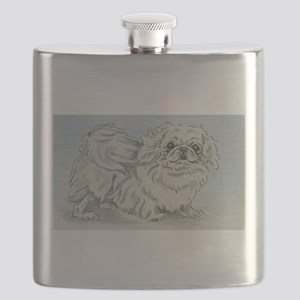 White Pekingese Flask