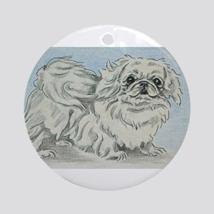 White Pekingese Ornament (Round)