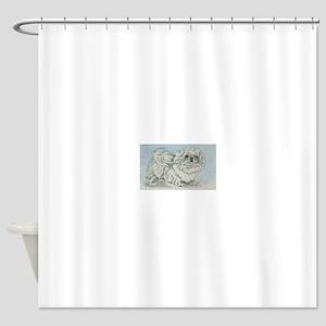 White Pekingese Shower Curtain