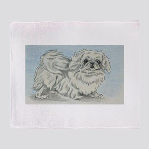 White Pekingese Throw Blanket
