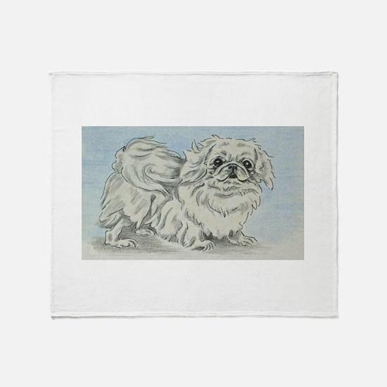White Pekingese Throw Blanket