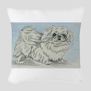 White Pekingese Woven Throw Pillow