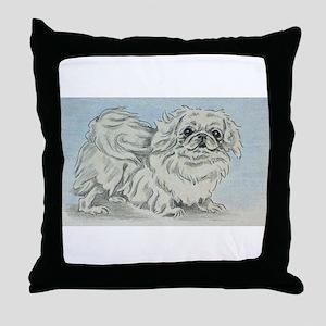 White Pekingese Throw Pillow