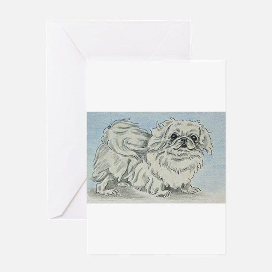 White Pekingese Greeting Cards