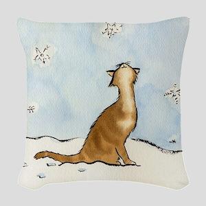 Snowflake Cat 049 10x10 Woven Throw Pillow