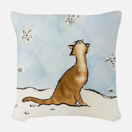 Snowflake Cat 049 10x10.jpg Woven Throw Pillow