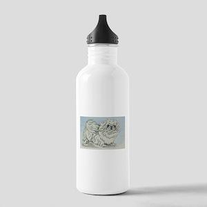 White Pekingese Stainless Water Bottle 1.0L