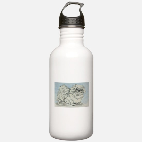 White Pekingese Water Bottle