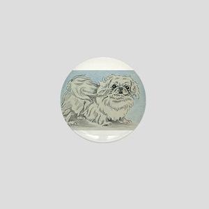 White Pekingese Mini Button