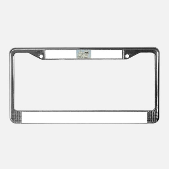 White Pekingese License Plate Frame