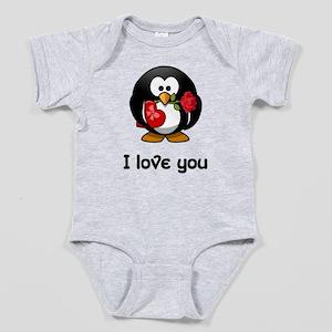 I Love You Penguin Baby Bodysuit