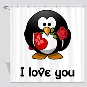 I Love You Penguin Shower Curtain