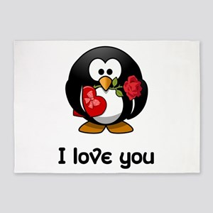 I Love You Penguin 5'x7'Area Rug
