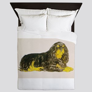 Black/Tan King Charles Spaniel (ETS) Queen Duvet