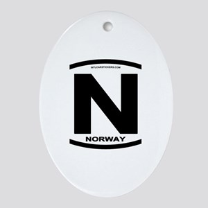 Norway Euro-style Code Oval Ornament