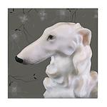 Borzoi Dogwood Silver Mist Tile Coaster