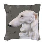 Borzoi Portrait Dogwood Mist Woven Throw Pillow