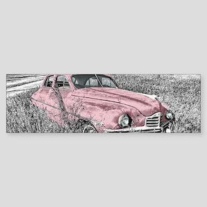 vintage pink car Bumper Sticker