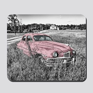 vintage pink car Mousepad